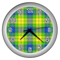Spring Plaid Yellow Wall Clocks (silver)  by Simbadda