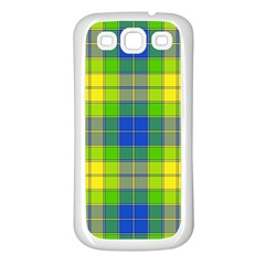 Spring Plaid Yellow Samsung Galaxy S3 Back Case (white) by Simbadda
