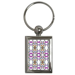 Floral Ornament Baby Girl Design Key Chains (rectangle)  by Simbadda