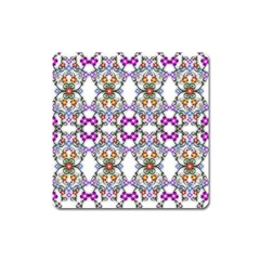 Floral Ornament Baby Girl Design Square Magnet by Simbadda