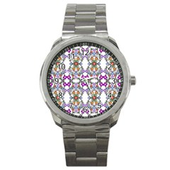 Floral Ornament Baby Girl Design Sport Metal Watch by Simbadda