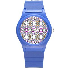 Floral Ornament Baby Girl Design Round Plastic Sport Watch (s) by Simbadda