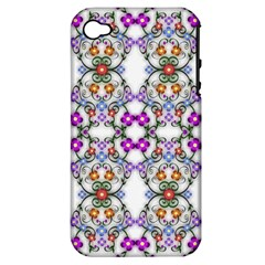 Floral Ornament Baby Girl Design Apple Iphone 4/4s Hardshell Case (pc+silicone) by Simbadda