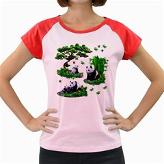 Cute Panda Cartoon Women s Cap Sleeve T Shirt by Simbadda