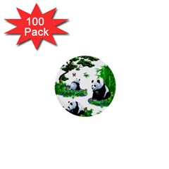 Cute Panda Cartoon 1  Mini Buttons (100 Pack)  by Simbadda