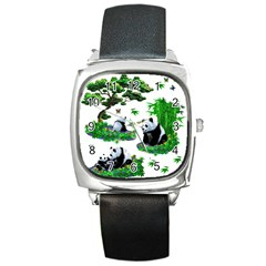 Cute Panda Cartoon Square Metal Watch by Simbadda