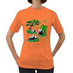 Cute Panda Cartoon Women s Dark T Shirt by Simbadda