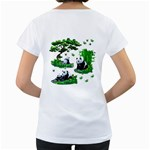 Cute Panda Cartoon Women s Loose-Fit T-Shirt (White) Back