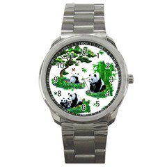 Cute Panda Cartoon Sport Metal Watch by Simbadda