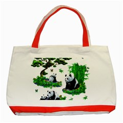 Cute Panda Cartoon Classic Tote Bag (red) by Simbadda
