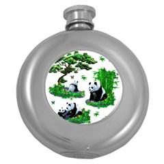 Cute Panda Cartoon Round Hip Flask (5 Oz) by Simbadda