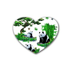 Cute Panda Cartoon Rubber Coaster (heart)  by Simbadda