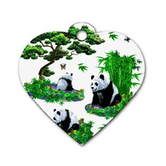 Cute Panda Cartoon Dog Tag Heart (one Side) by Simbadda