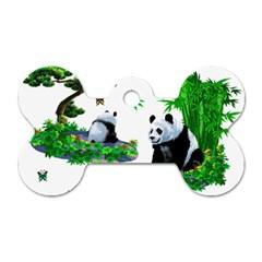 Cute Panda Cartoon Dog Tag Bone (two Sides) by Simbadda