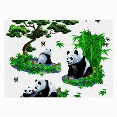Cute Panda Cartoon Large Glasses Cloth (2 Side) by Simbadda