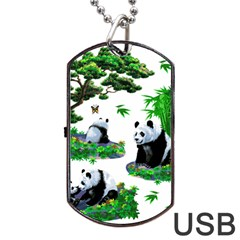 Cute Panda Cartoon Dog Tag Usb Flash (two Sides) by Simbadda
