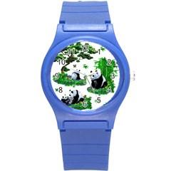 Cute Panda Cartoon Round Plastic Sport Watch (s) by Simbadda