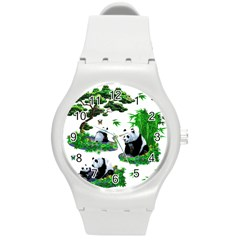 Cute Panda Cartoon Round Plastic Sport Watch (m) by Simbadda