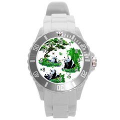 Cute Panda Cartoon Round Plastic Sport Watch (l) by Simbadda