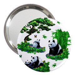 Cute Panda Cartoon 3  Handbag Mirrors by Simbadda