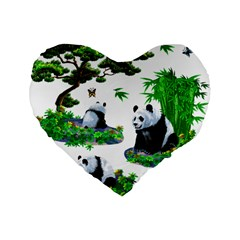 Cute Panda Cartoon Standard 16  Premium Heart Shape Cushions by Simbadda