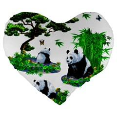 Cute Panda Cartoon Large 19  Premium Heart Shape Cushions by Simbadda