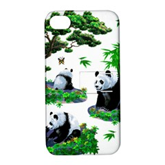 Cute Panda Cartoon Apple Iphone 4/4s Hardshell Case With Stand by Simbadda