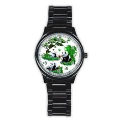 Cute Panda Cartoon Stainless Steel Round Watch by Simbadda