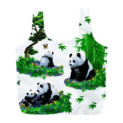Cute Panda Cartoon Full Print Recycle Bags (l)  by Simbadda
