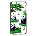 Cute Panda Cartoon Apple iPhone 6 Plus/6S Plus Black Enamel Case Front