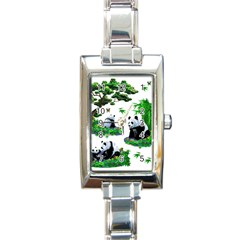 Cute Panda Cartoon Rectangle Italian Charm Watch by Simbadda