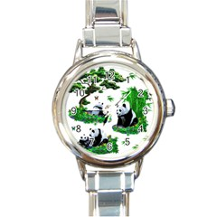 Cute Panda Cartoon Round Italian Charm Watch by Simbadda