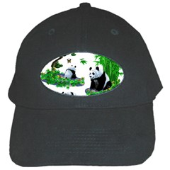 Cute Panda Cartoon Black Cap by Simbadda