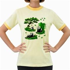 Cute Panda Cartoon Women s Fitted Ringer T Shirts by Simbadda