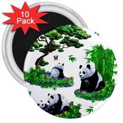 Cute Panda Cartoon 3  Magnets (10 Pack)  by Simbadda