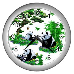 Cute Panda Cartoon Wall Clocks (silver)  by Simbadda