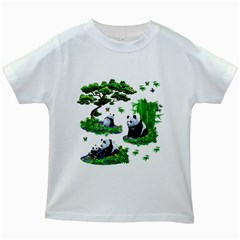 Cute Panda Cartoon Kids White T Shirts by Simbadda
