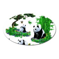 Cute Panda Cartoon Oval Magnet by Simbadda