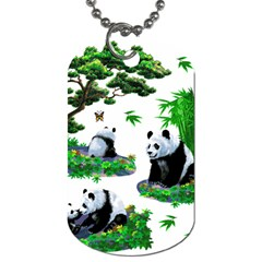 Cute Panda Cartoon Dog Tag (two Sides) by Simbadda