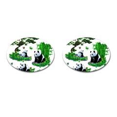 Cute Panda Cartoon Cufflinks (oval) by Simbadda