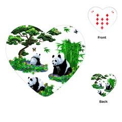 Cute Panda Cartoon Playing Cards (heart)  by Simbadda
