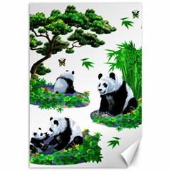 Cute Panda Cartoon Canvas 12  X 18   by Simbadda