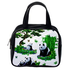 Cute Panda Cartoon Classic Handbags (one Side) by Simbadda