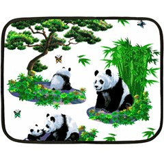 Cute Panda Cartoon Fleece Blanket (mini) by Simbadda