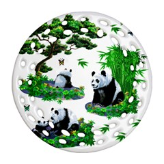 Cute Panda Cartoon Round Filigree Ornament (Two Sides)