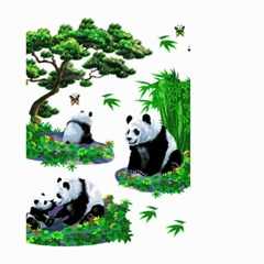 Cute Panda Cartoon Small Garden Flag (two Sides) by Simbadda