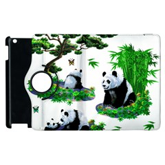 Cute Panda Cartoon Apple Ipad 2 Flip 360 Case by Simbadda