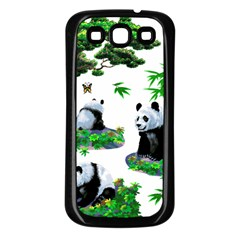 Cute Panda Cartoon Samsung Galaxy S3 Back Case (black) by Simbadda