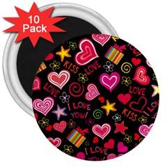 Love Hearts Sweet Vector 3  Magnets (10 Pack)  by Simbadda