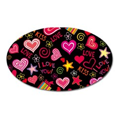 Love Hearts Sweet Vector Oval Magnet by Simbadda